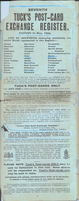 SEVENTH TUCK'S POST-CARD EXCHANGE REGISTER, AVAILABLE TO MAY, 1909