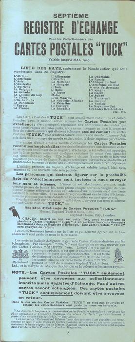 """French SEPTIEME REGISTRE D'ECHANGE POUR LES COLLECTIONNEURS DES CARTES POSTALES """"TUCK"""", VALABLE JUSQU'A MAI, 1909"""