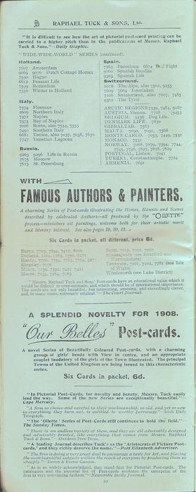 "WITH FAMOUS AUTHORS & PAINTERS, A SPLENDID NOVELTY FOR 1908, ""OUR BELLES"" POST-CARDS"