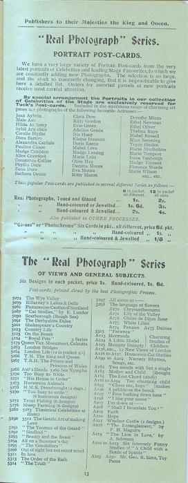 """""""REAL PHOTOGRAPH"""" SERIES PORTRAIT POST-CARDS, THE """"REAL PHOTOGRAPH"""" SERIES OF VIEW AND GENERAL SUBJECTS"""