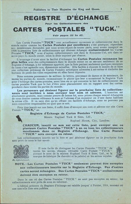 """French REGISTRE D'ECHANGE POUR LES COLLECTIONNEURS DES CARTES POSTALES """"TUCK."""", VOIR PAGES 33 TO 47"""