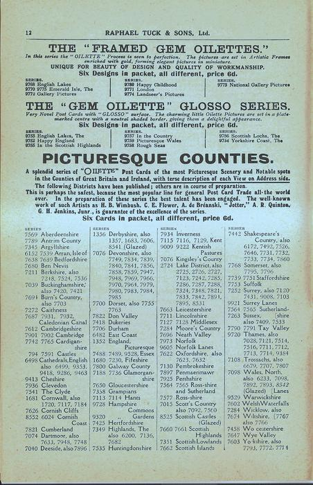 "THE ""FRAMED GEM OILETTES"", THE ""GEM OILETTE"" GLOSSO SERIES, PICTURESQUE COUNTIES"