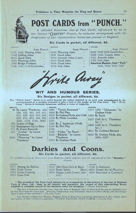 """POST CARDS FROM """"PUNCH"""", """"WRITE AWAY"""" WIT AND HUMOUR SERIES, DARKIES AND COONS"""