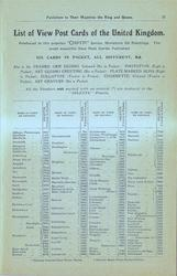 LIST OF VIEW POST CARDS OF THE UNITED KINGDOM