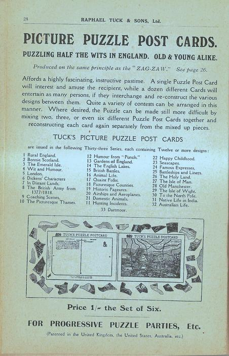 PICTURE PUZZLE POST CARDS, PRICE 1/- THE SET OF SIX