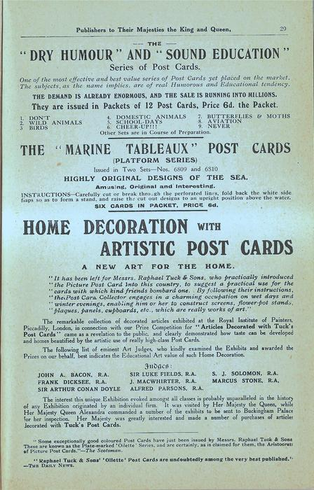 """THE """"DRY HUMOUR"""" AND """"SOUND EDUCATION"""" SERIES OF POST CARDS, THE """"MARINE TABLEAUX"""" POST CARDS (PLATFORM SERIES)"""