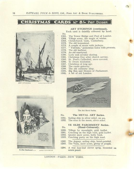 CHRISTMAS CARDS, ART ETCHINGS (CONTINUED), THE METAL ART SERIES, YE OLDE PARCHMENT SERIES
