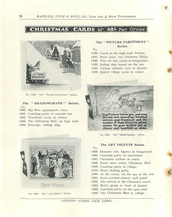 """CHRISTMAS CARDS,THE """"SHADOWGRAPH"""" SERIES, THE """"PICTURE PARCHMENT"""" SERIES, THE ART OILETTE SERIES"""