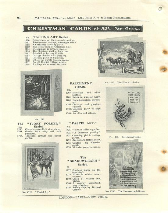 """CHRISTMAS CARDS, THE FINE ART SERIES, PARCHMENT GEMS, THE """"IVORY FOLDER"""" SERIES, """"PASTEL ART"""", THE """"SHADOWGRAPH"""" SERIES,THE """"IVORY FOLDER"""" SERIES, """"PASTEL ART"""", THE """"SHADOWGRAPH"""" SERIES"""
