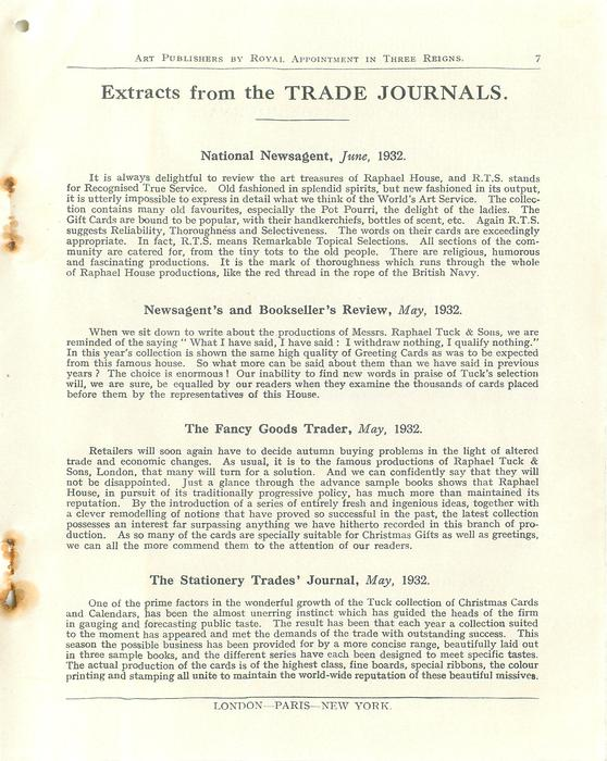 EXTRACTS FROM THE TRADE JOURNALS