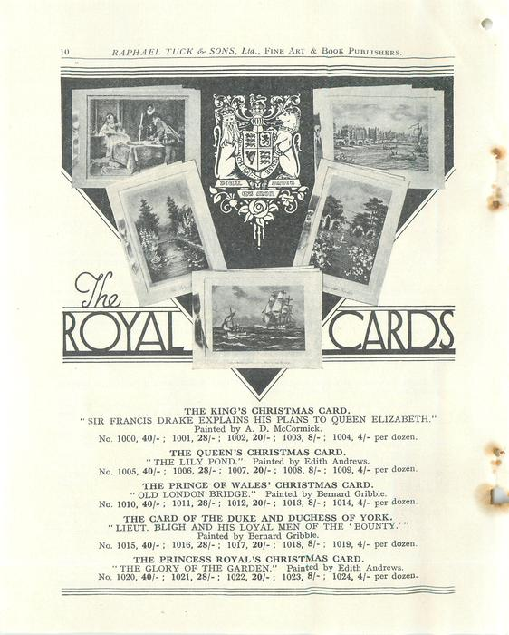 THE ROYAL CARDS priced per dozen