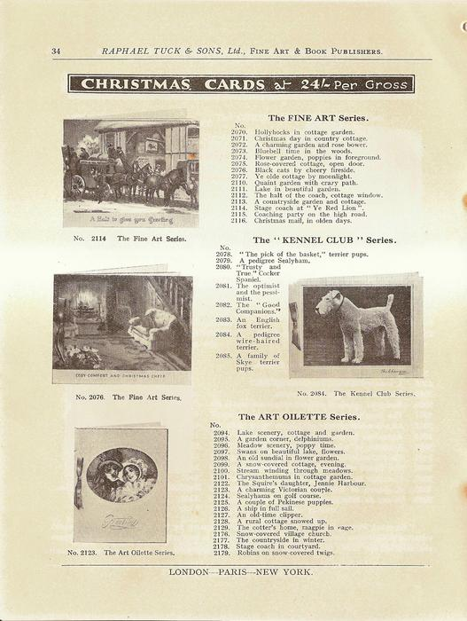 """CHRISTMAS CARDS, THE FINE ART SERIES, THE """"KENNEL CLUB"""" SERIES, THE ART OILETTE SERIES"""