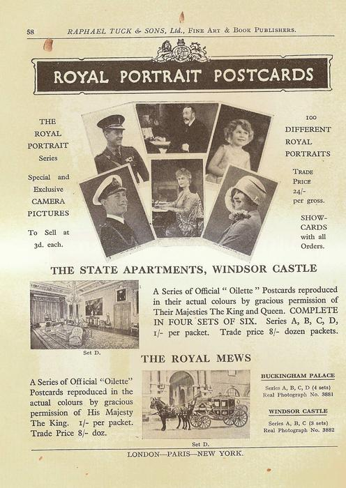 ROYAL PORTRAIT POSTCARDS  THE STATE APARTMENTS, WINDOR CASTLE  THE ROYAL MEWS