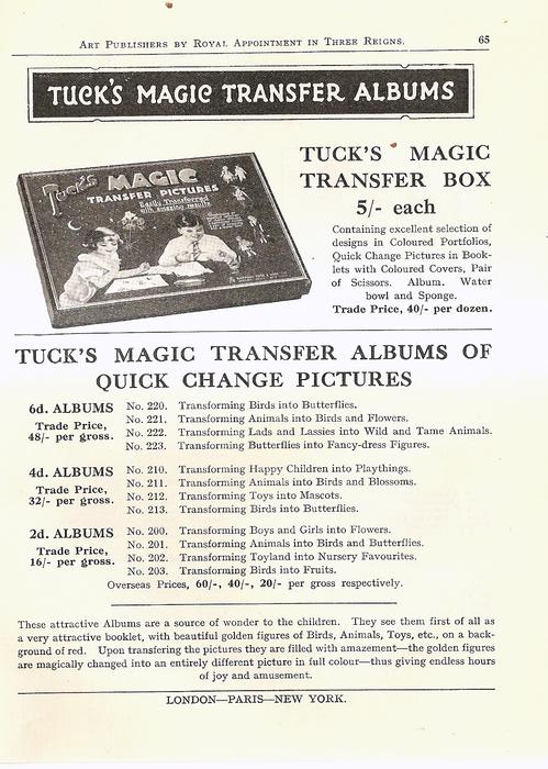 TUCK'S MAGIC TRANSFER ALBUMS OF QUICK CHANGE  PICTURES