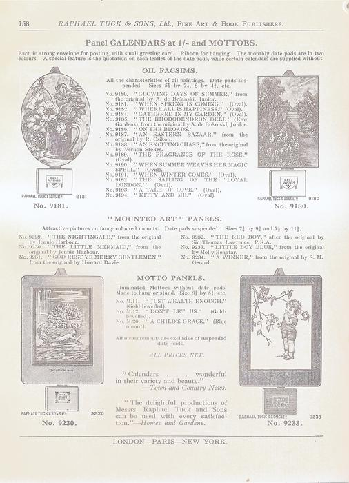 PANEL CALENDARS AT 1/- AND MOTTOES