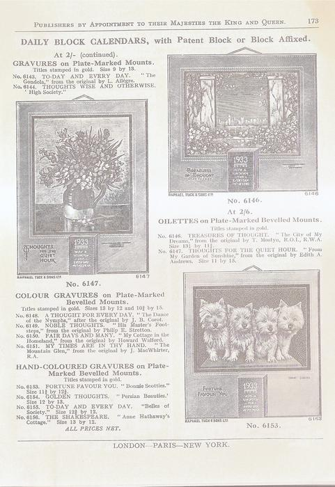 DAILY BLOCK CALENDARS, WITH PATENT BLOCK OR BLOCK AFFIXED AT 2/- (CONTINUED)