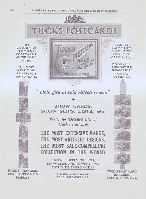 TUCK'S POSTCARDS  SHOW CARDS, SHOW SLIPS, LISTS, ETC.