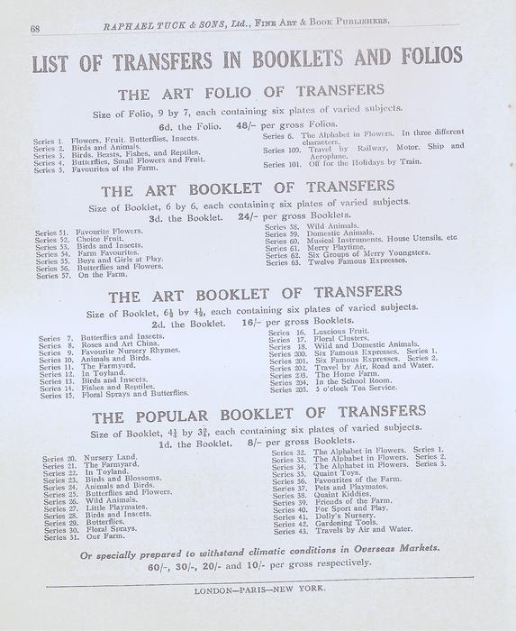 LIST OF TRANSFERS IN BOOKLETS AND FOLIOS