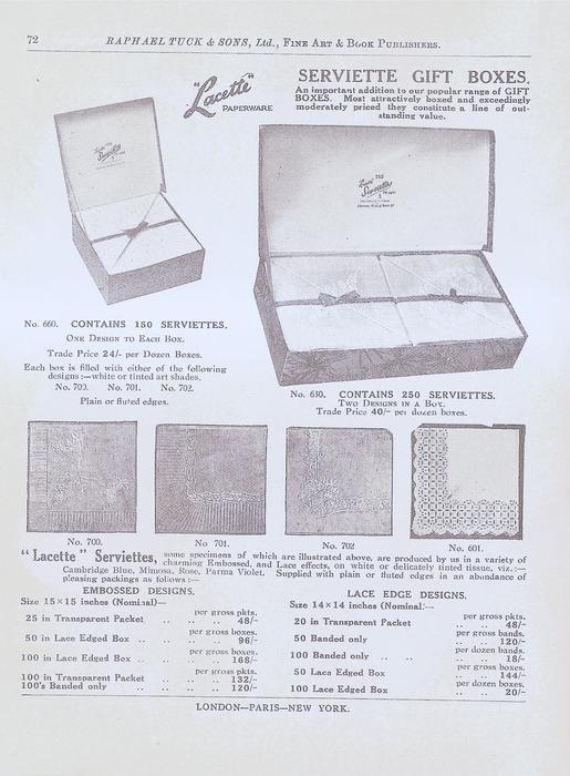 """""""LACETTE"""" PAPERWARE  SERVIETTE GIFT BOXES"""