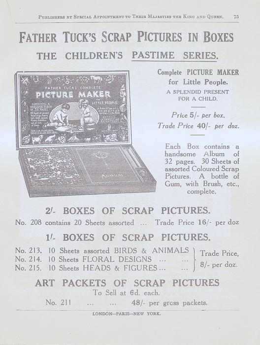 FATHER TUCK'S SCRAP PICTURES IN BOXES  THE CHILDREN'S PASTIME SERIES