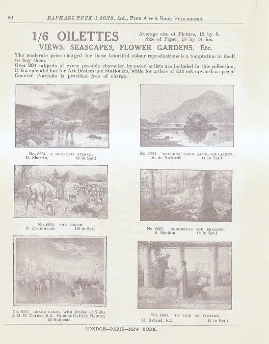 1/6 OILETTES  VIEWS, SEASCAPES, FLOWER GARDENS, ETC