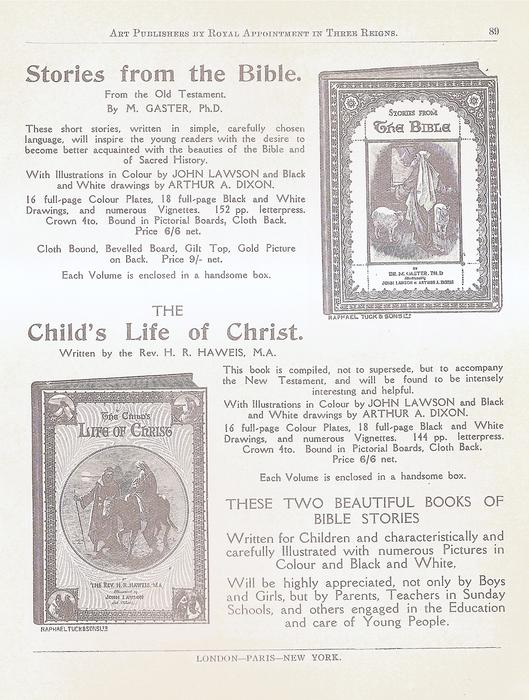 STORIES FROM THE BIBLE FROM THE OLD TESTAMENT. THE CHILD'S LIFE OF CHRIST