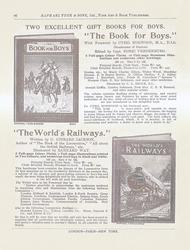 "TWO EXCELLENT GIFT BOOKS FOR BOYS. ""THE BOOK FOR BOYS.""  ""THE WORLD'S RAILWAYS."""