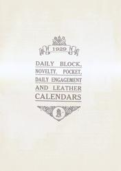 1929  DAILY BLOCK, NOVELTY, POCKET, DAILY ENGAGEMENT AND LEATHER CALENDARS
