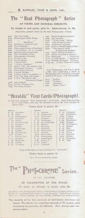 "THE ""REAL PHOTOGRAPH"" SERIES OF VIEWS AND GENERAL SUBJECTS - ""HERALDIC"" VIEW CARDS (PHOTOGRAPH) - THE ""PHOTOCHROME"" SERIES"