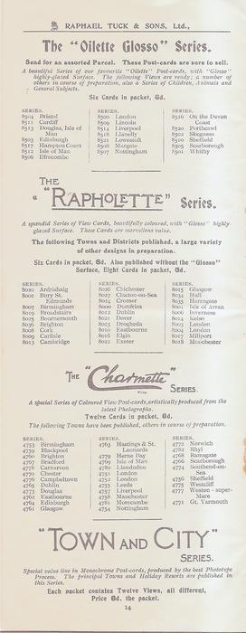 """THE """"OILETTE GLOSSO"""" SERIES - THE """"RAPHOLETTE"""" SERIES - THE """"CHARMETTE"""" SERIES - """"TOWN AND CITY"""" SERIES"""