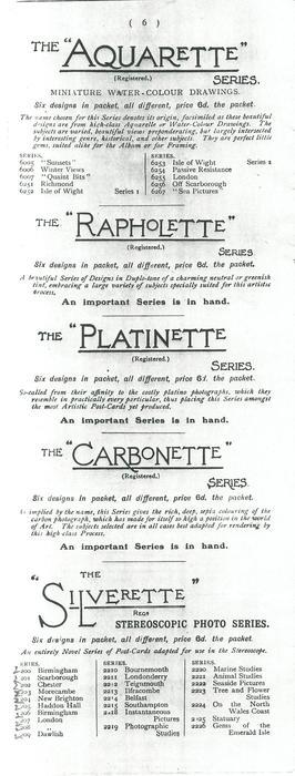"""THE """"AQUARETTE"""" SERIES - THE """"RAPHOLETTE"""" SERIERS - THE """"PLATINETTE"""" SERIES - THE """"CARBONETTE"""" SERIES - THE """"SILVERETTE"""" SERIES"""