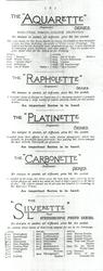"THE ""AQUARETTE"" SERIES - THE ""RAPHOLETTE"" SERIERS - THE ""PLATINETTE"" SERIES - THE ""CARBONETTE"" SERIES - THE ""SILVERETTE"" SERIES"
