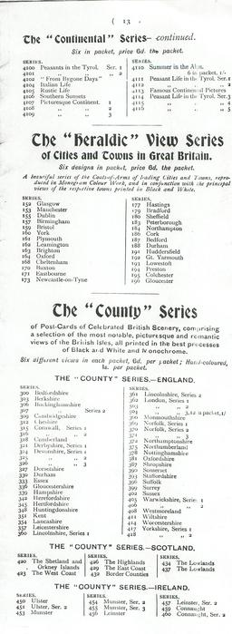 "THE ""CONTINENTAL"" SERIES - CONTINUED - THE ""HERALDIC"" VIEW SERIES OF CITIES IN TOWNS IN GREAT BRITAIN - THE ""COUNTY"" SERIES"