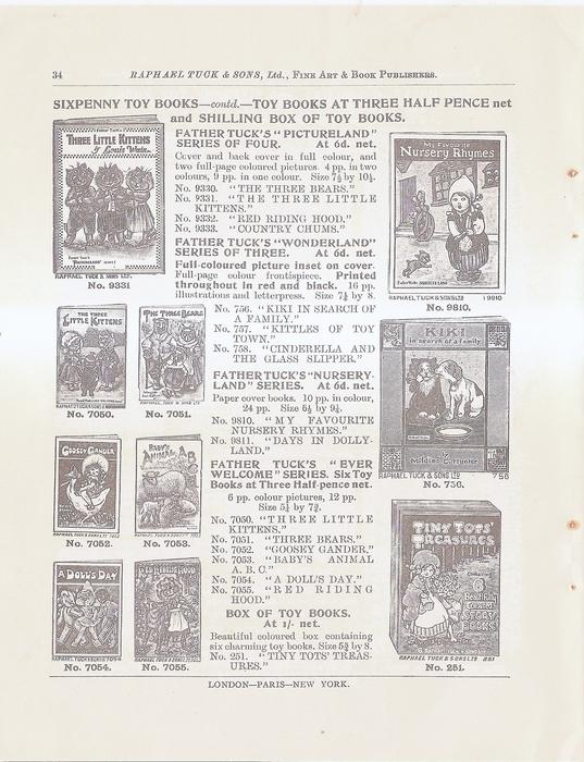 SIXPENNY TOY BOOKS - CONTD TOY BOOKS AT THREE HALF PENCE NET AND SHILLING BOX OF TOY BOOKS