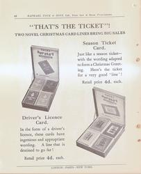 """""""THAT'S THE TICKET!"""" TWO NOVEL CHRISTMAS CARD LINES BRING BIG SALES"""