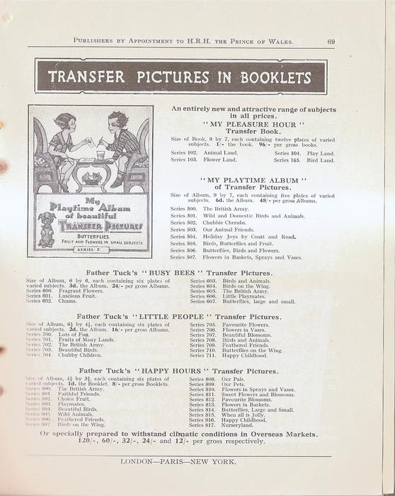 TRANSFER PICTURES IN BOOKLETS
