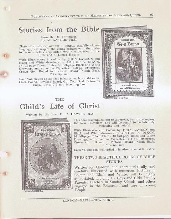 STORIES FROM THE BIBLE - THE CHILD'S LIFE OF CHRIST