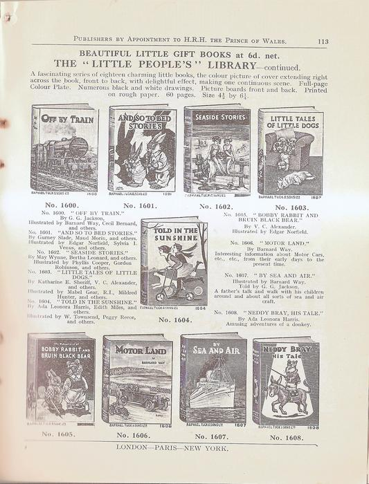 """BEAUTIFUL LITTLE GIFT BOOKS AT 6.d NET THE """"LITTLE PEOPLE'S"""" LIBRARY - CONTINUED"""