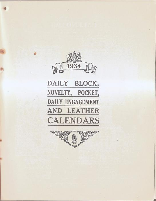 1934 - DAILY BLOCK, NOVELTY, POCKET, DAILY ENGAGEMENT AND LEATHER CALENDARS