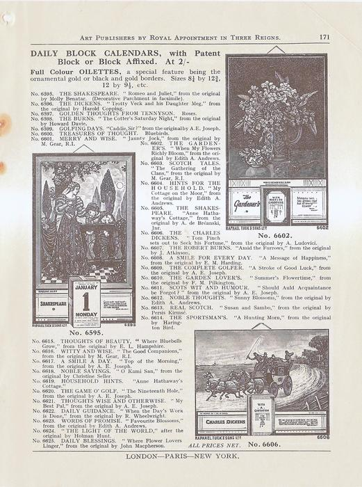 DAILY BLOCK CALENDARS WITH PATENT BLOCK OR BLOCK AFFIXED AT 2/-