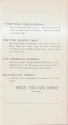 """""""THE TUCK PUBLICATIONS"""" - FOR THE SEASON 1896-7 - THE AMERICAN MARKET - DELIVERY OF STOCKS"""