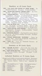 BOOKLETS AT 40 CENTS EACH - BOOKLETS AT 50 CENTS EACH - CELLULOID BOOKLETS AT 75 CENTS EACH