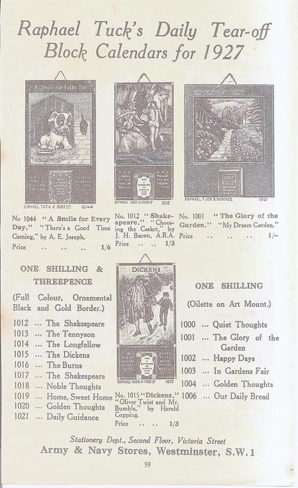 RAPHAEL TUCK'S DAILY TEAR-OFF BLOCK CALENDARS FOR 1927