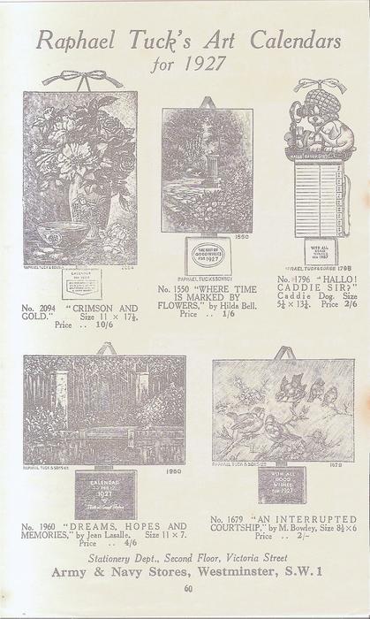 RAPHAEL TUCK'S ART CALENDARS FOR 1927