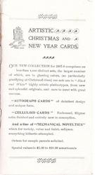 ARTISTIC CHRISTMAS AND NEW YEAR CARDS inside back cover