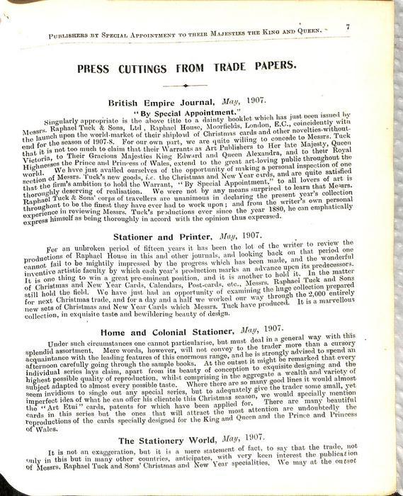 PRESS CUTTINGS FROM TRADE PAPERS
