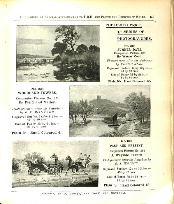 PUBLISHED PRICE, 3/- SERIES OF PHOTOGRAVURES