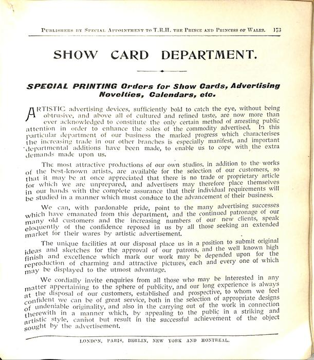 SHOW CARD DEPARTMENT
