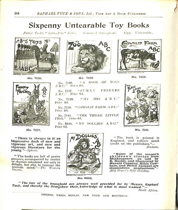 SIXPENNY UNTEARABLE TOY BOOKS
