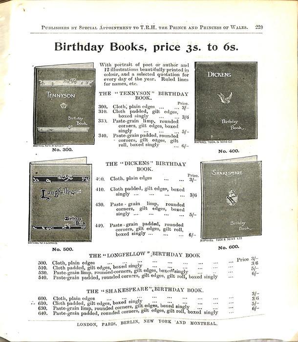 BIRTHDAY BOOKS, PRICE 3S. TO 6S.